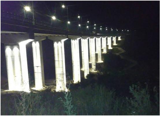Decorative illumination of Džemin Do bridge on highway E75, Vladičin Han – Serbia